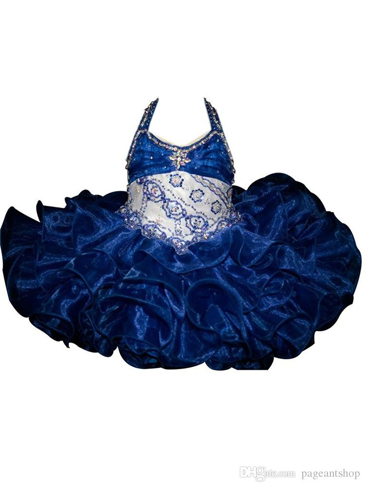 Royal Blue Girls Pageant Cupcake Dresses Infant Special Occasion Skirts Toddler Tutu Prom Party Dress Kids Short Halter Pageant Gowns