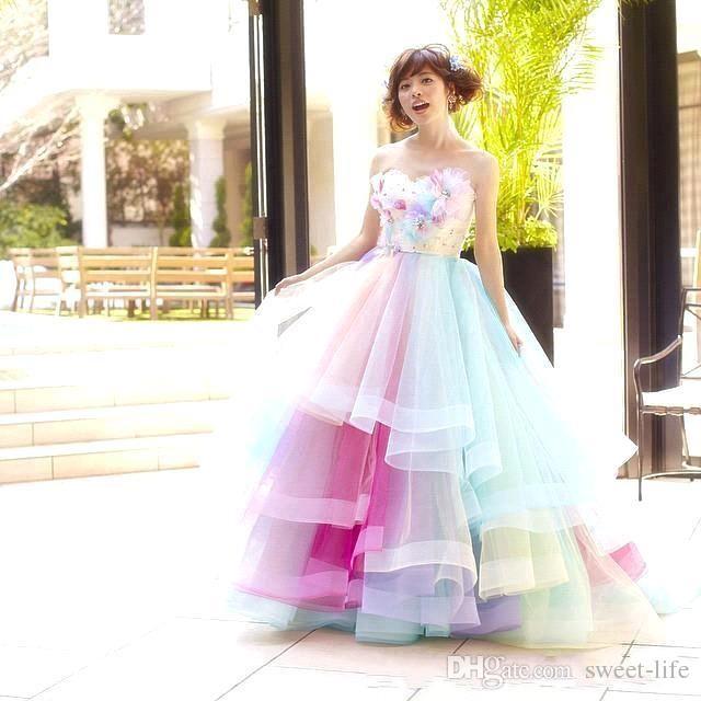 Colorful Rainbow Ombre Junior una linea Quinceanera Drsses 2020 Prom Dresses Tiered sfera di Tulle partito convenzionale dolce sedici abiti da sera