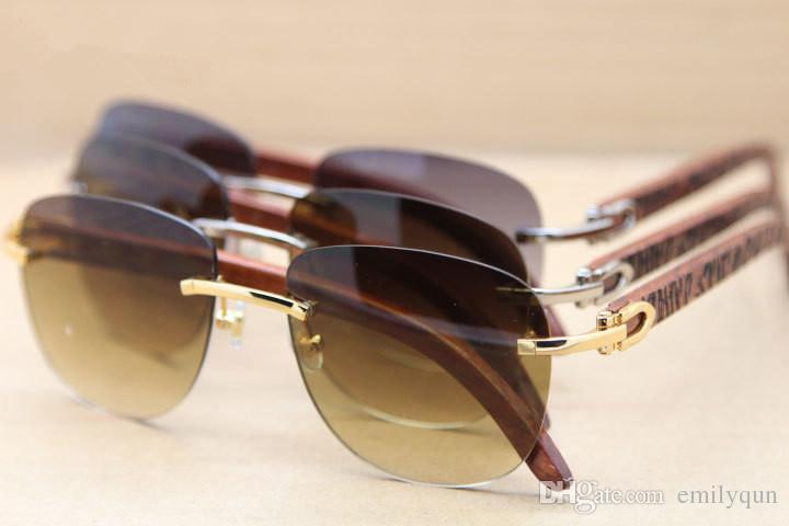b57d118e26 Famous Brand Natural Wooden Sunglasses For Men Women Rimless Sunglasses  8300680 Wood Legs Sun Glasses Designer Sunglasses With Original Case Glasses  Frames ...