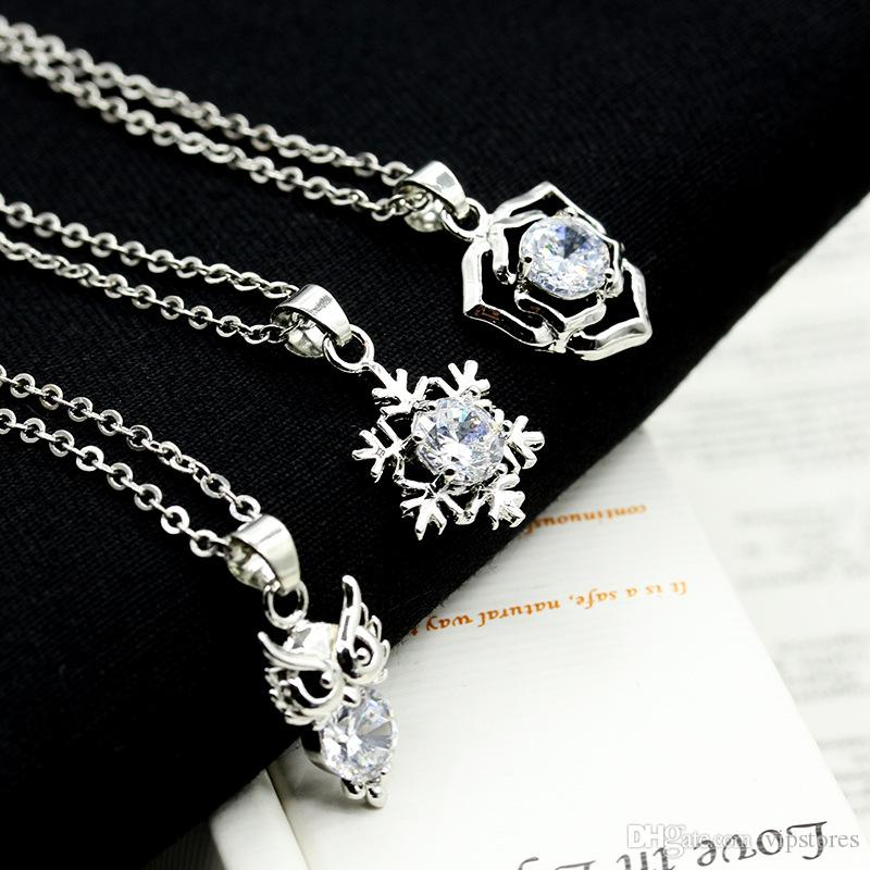 Korean silver diamond necklaces pendant snow flower crown crystal necklace jewelry for girls heart butterfly ring shape charm necklace chain