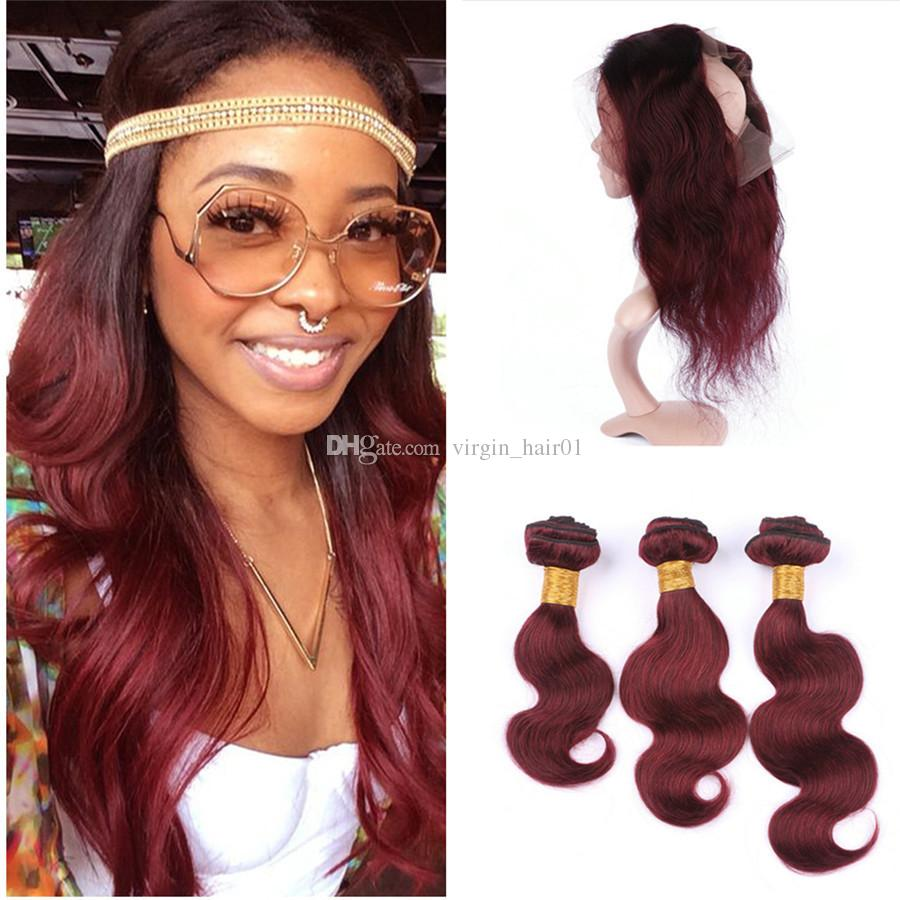 Burgundy 360 Lace Frontal Closure With Bundles #99J Wine Red Body Wave Brazilian Virgin Human Hair Weaves With 360 Full Lace Band Frontals