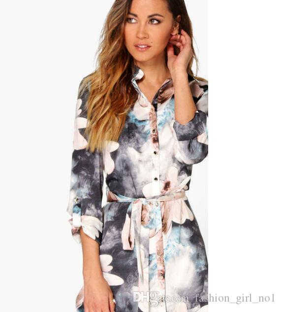 b3d2ec945fd37f 2018 Women's Loose Print Shirts Girl Casual Loose Oversized Blouse Plus  Size lapel neck Summer Fashion Long Sleeve T-Shirts