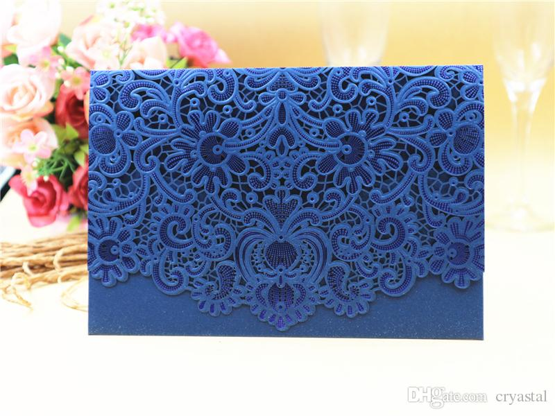 New Arrival Horizontal Laser Cut Wedding Invitation With Navy Blue