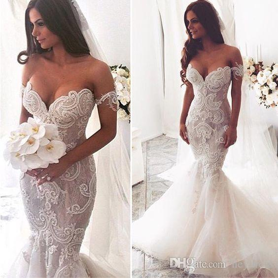 Elegant Lace Trumpet Wedding Dress 2017 Vintage Off The Shoulder
