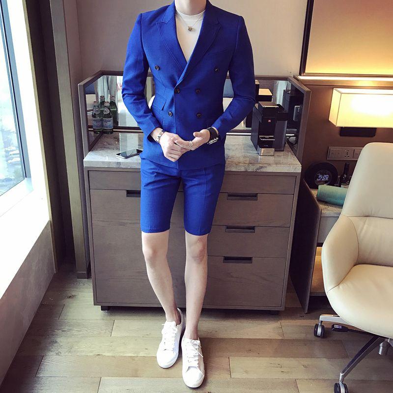 Yeni Yaz Erkekler Kısa Pantolon Ile Suits 2017 Şık Kruvaze Casual Slim Fit Erkek Blazer Setleri Parti Aşınma Erkekler Smokin