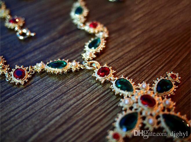 Yeni ünlü tasarım Avusturyalı kristal Metal zincir renkli taş inci çapraz uzun kazak kolye vintage barok kolye ücretsiz kargo