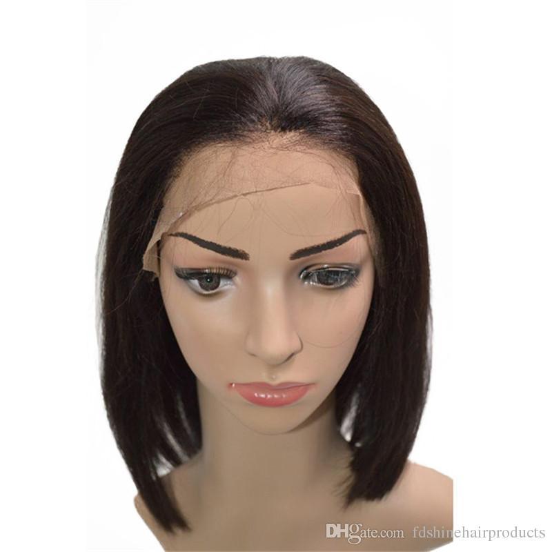 130% Dichte Pre Gezupft Mongolische Menschenhaarperücken Glueless Short Bob Lace Front Perücken Für Schwarze Frauen FDSHINE HAIR