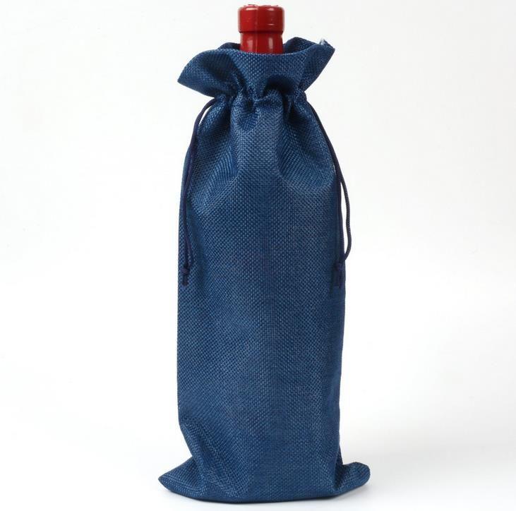 16 * 36 cm Lino Cordón vino rojo Bolsas botella de vino empaquetado yute vino rojo bolsas logotipo personalizado