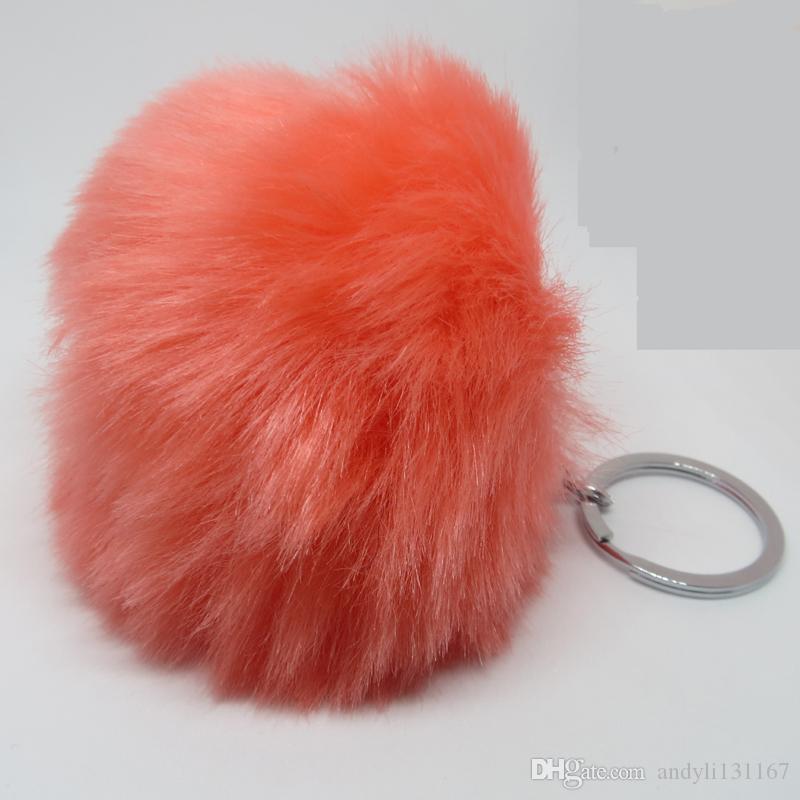 8 cm vente chaude pom pom lapin fourrure boule trousseau chaveiro alliage palissé argent porte-clés lapin fourrure pompon trousseau K0052
