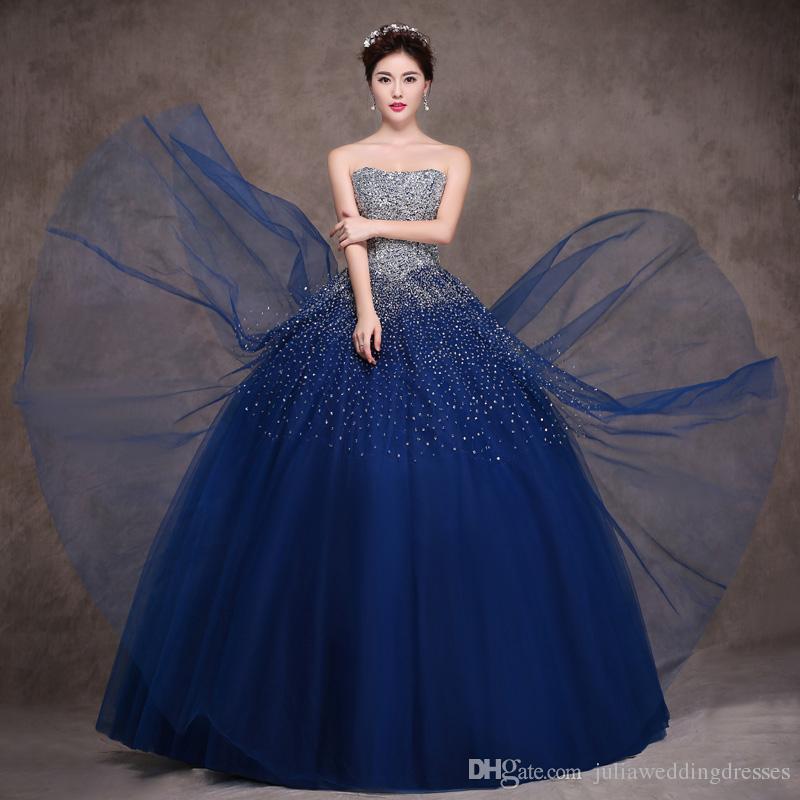 2017 Sevgiliye Kraliyet Mavi Balo Quinceanera Elbiseler Kristalleri Boncuklu Artı Boyutu Örgün Balo Pageant Debutante Parti Kıyafeti BM63