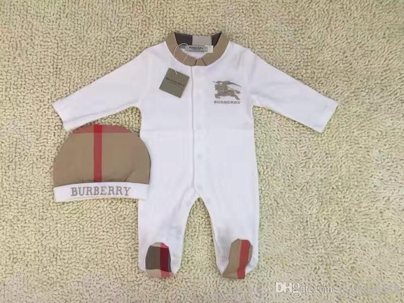 2pcs Set Baby Romper Classic grid Newborn jumpsuits Embroidered horse toddlers Coverall/Romper kids brand clothing Free shipping