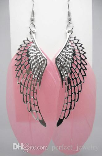 Перо серьги 24 цвета Оптовая много милый ангел крыло очарование свет мотаться серьга Белый горячий розовый песок светло-голубой лаванды верблюдJF003