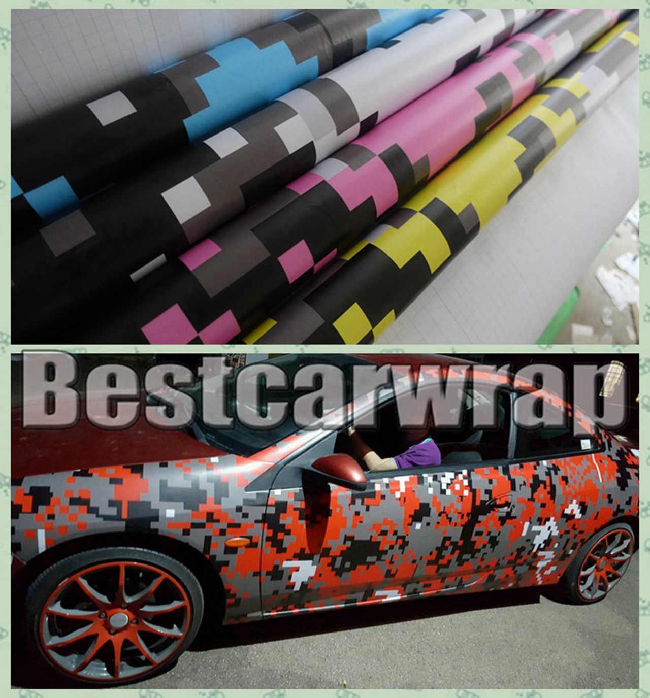 Various Colors Pixel Camo Vinyl Car Wrap Film With Air