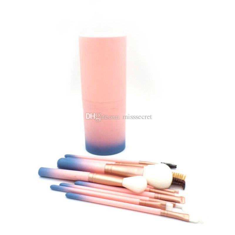 파운데이션 파우더에 대 한 핑크 메이크업 브러쉬 Eyeshadow 아이 라이너 립 형광펜 화장품 브러쉬 도구 플라스틱 상자와 브러쉬 세트 메이크업