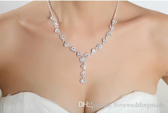 2019 Sparkly Rhinestone Crystal Jewellery Bridal Collana Orecchini Set di gioielli il matrimonio del partito di Prom Party in magazzino più economico