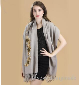 Embroidered Wool Shawl Scarf Thicker Chinese Style Long Female Bridal Wedding Wraps Cloak Jacket High Quality