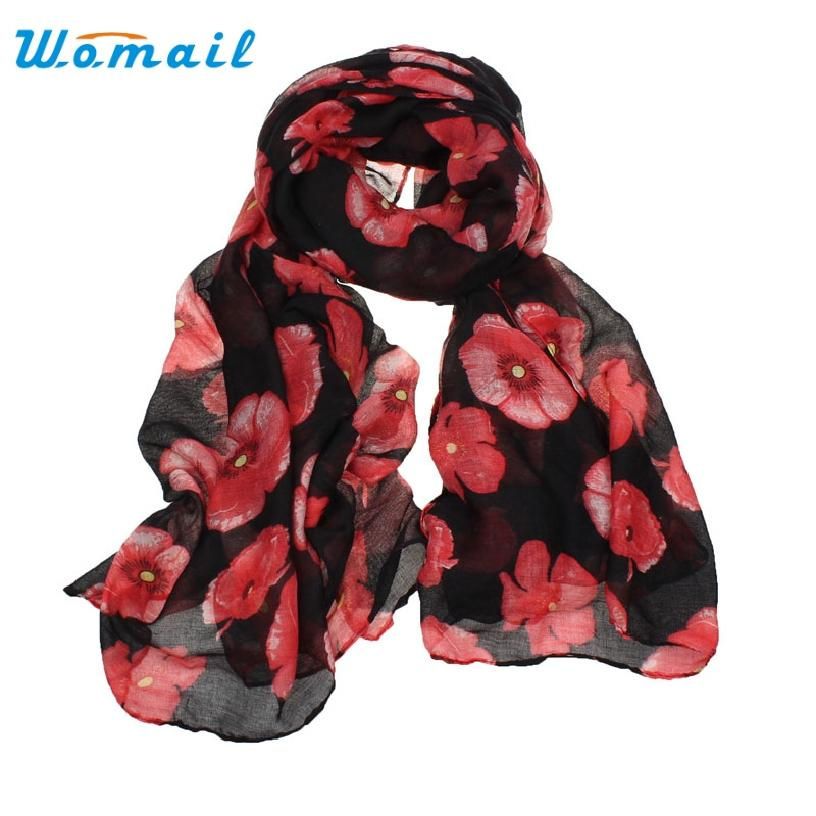 Vente en gros- Bonne affaire Bonne affaire Nouvelle femme Red Poppy Flower Print Longue écharpe Flower Beach Wrap Ladies Stole Shawl Gift 1PC