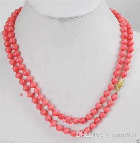 Beautifully Pink Coral 8-9mm Round Beads Gemstones Necklace 32""