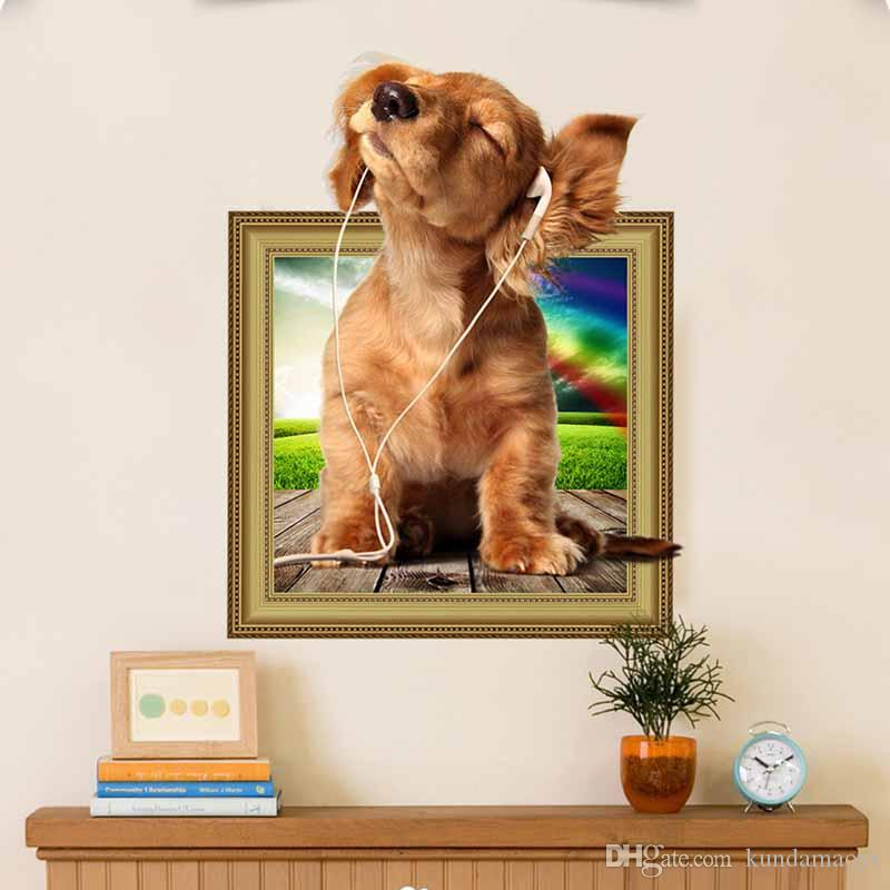Hot 3d Puppy Dog Wall Sticker Pvc Backdrop Decor Home Decoration Room  Decals Wall Art 3d Wallpaper Stickers On The Wall Poster Wall Decals For  Home Decor ...