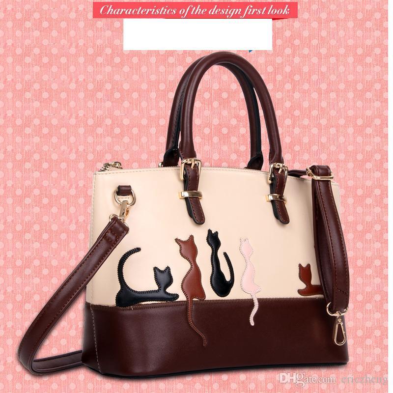 0894ca54114 2017 Women Shoulder Handbag Lady Leather Cartoon Cats Bags , Woman Hand Bag  For Ladies Fasional Beautiful Handbags Branded Handbags Ivanka Trump  Handbags ...