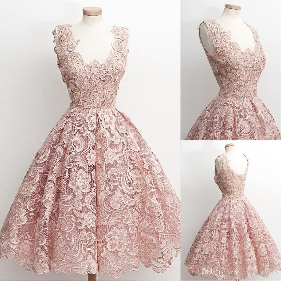 Lovely Lace Scoop Neckline A Line Homecoming Dresses Nude Pink Short ...