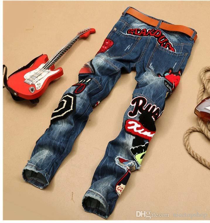 2016 Toptan erkek Kot pantolon Yırtık Sıska Mikro bölüm Ünlü Marka Tasarımcısı Ince Motosiklet Denim yama sequins nakış