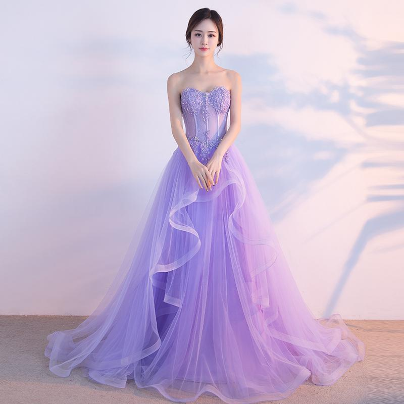 c6cf3f0370 SSYFashion 2017 Sweet Banquet Light Purple Lace Long Evening Dress The  Bride Elegant Strapless A-line Prom Formal Party Gown Custom Made