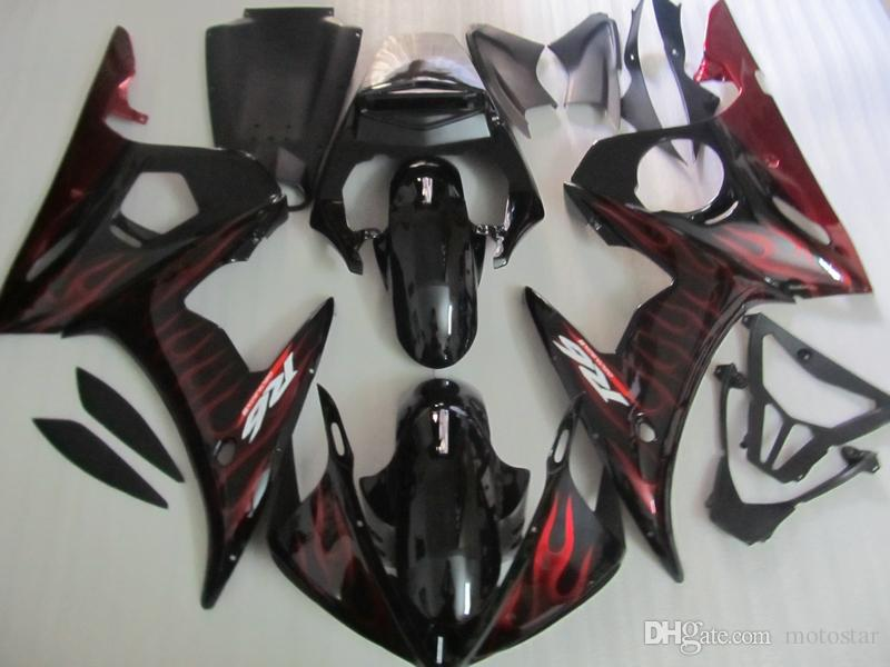 ABS plastic fairing kit for Yamaha YZF R6 03 04 05 red flames black fairings set YZF R6 2003 2004 2005 OT26