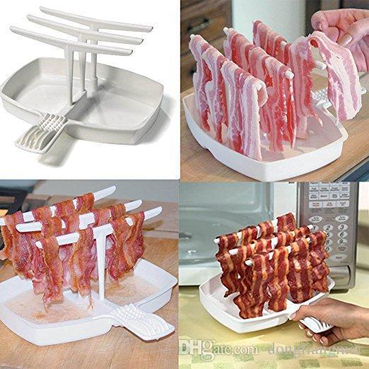 Prezzo di fabbrica di vendita al dettaglio rapida Rendere Facile Bacone Maker Fornello Makin Bacone Microonde Pan Verticale gancio Tray Tools carne Utile wn097
