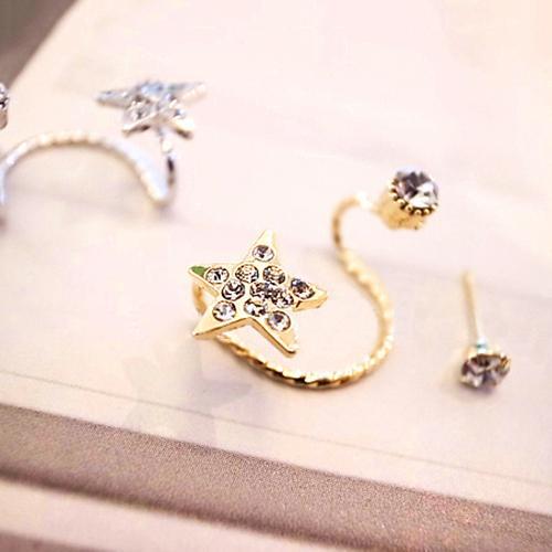 -Frauen-Art und Weise eleganter Ohrring Strass Ohr-Stulpe-Warp-Klipp-Ohr-Bolzen 6Y32