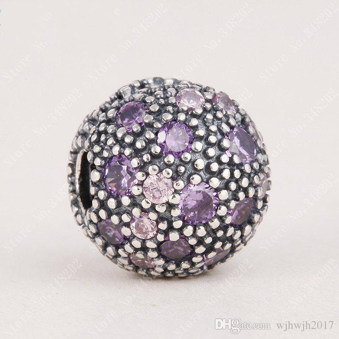 New Authentic 925 Sterling Silver Purple Cosmic Stars Clip Charm Beads For Women Fit Pandora Bracelets DIY Jewelry HB181