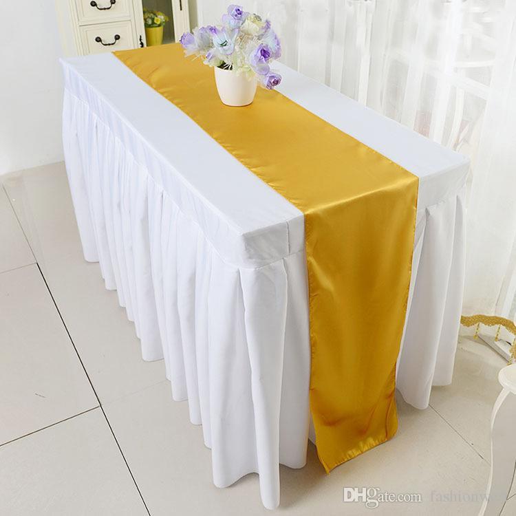 2016 Fajas para sillas Satin Table Runner Banquete de bodas Decoración Lote de la silla Fundas para fajas Decoraciones para bodas Bonito lazo de satén para bodas