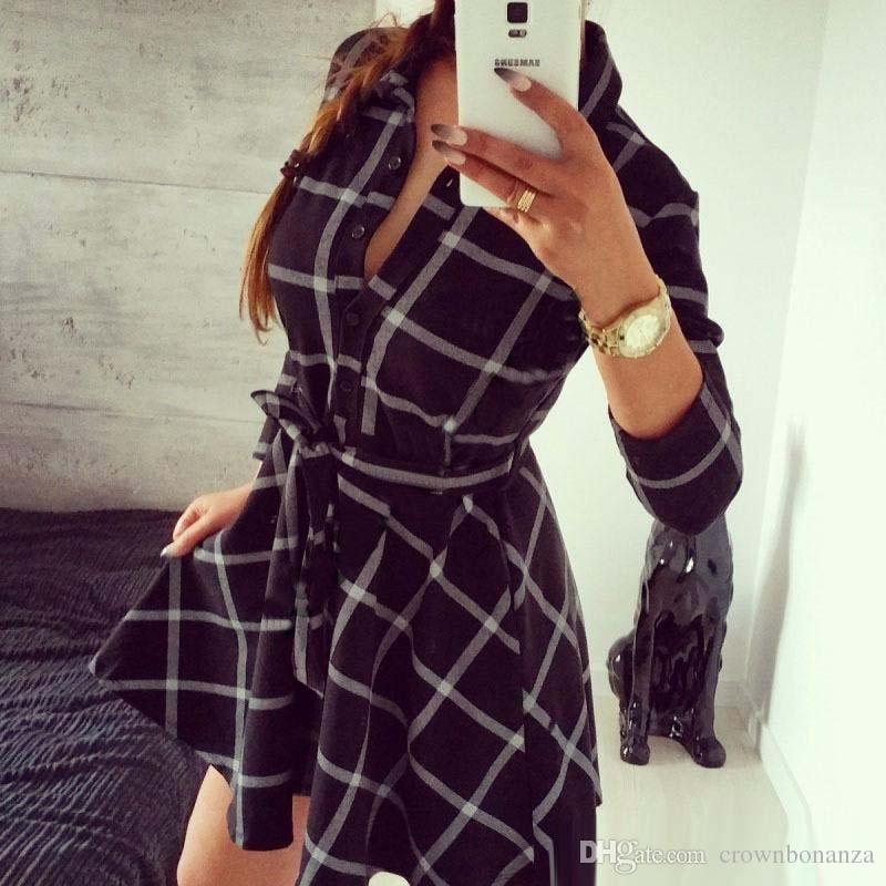 Новый женский V-образным вырезом Плед Повседневный линия вышивки Летнее платье с поясом Женщины Платье рубашка одевается полный рукав