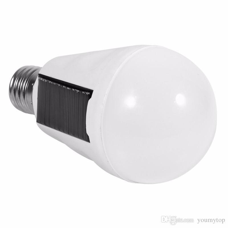 캠프 밤 야외 활동 비상 사태를위한 새로운 휴대용 태양 전원 LED 램프 라이트 E27 7W 태양 전지 패널 주도 전구