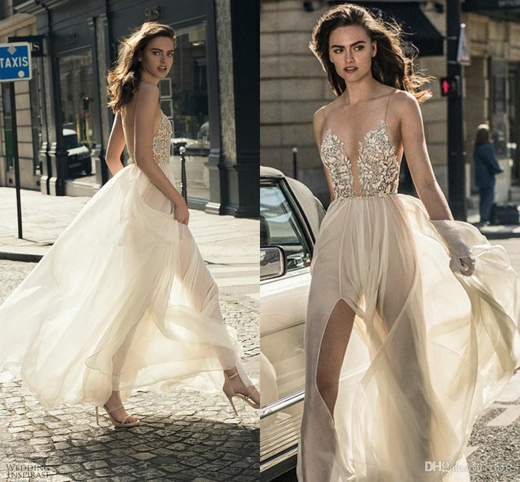 7c76a0a035 Discount Sexy Middle Split Tulle Skirt Wedding Dresses 2018 Liz Martinez  Spaghetti Deep Plunging Sweetheart Neckline Beach Holiday Bridal Gowns  Online ...