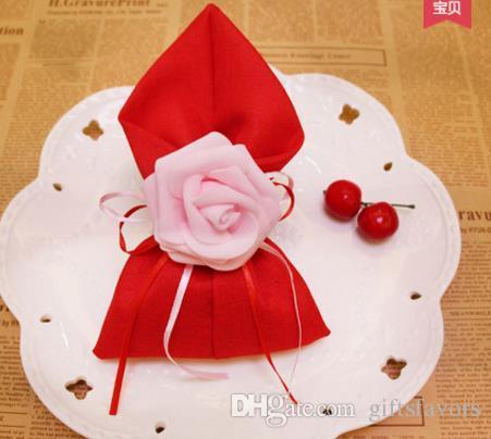 Darmowa Wysyłka 100 SZTUK Tkanina Poślubna Ślub Posiadacze Cukierki Czekoladowe Róża Torby Dla Gości Wholesales