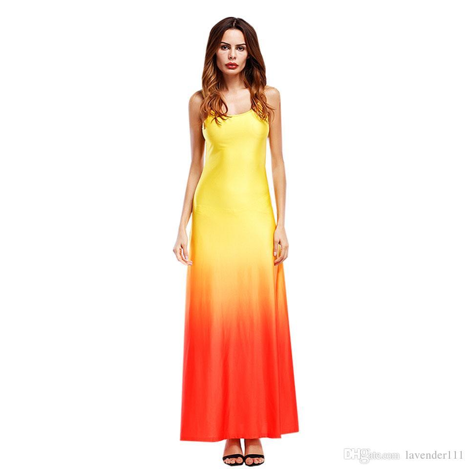 Femmes Plage Robe Maxi Longue Robe Boho Casual Été Mariage Soirées Partie Sans Manches Gradient Patchwork Orange Bleu