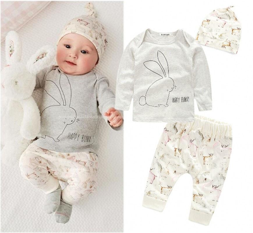 49bd83e1664d 2019 Wholesale Cute Baby Kids Girls Newborn Long Sleeve T Shirt+Pants+Hat Outfits  Set Infant Bunny Costume Toddler Baby Children Clothes From Moongate