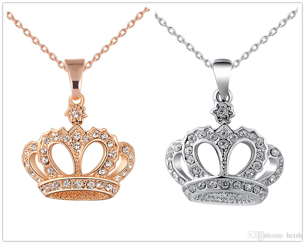 Wholesale Fashionable Crown Pattern Pendant With Crystal Silver ...