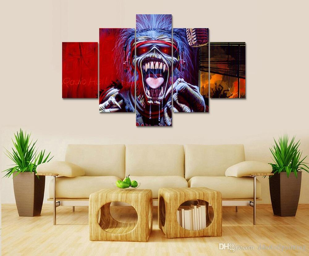 Iron Maiden LARGE 60x32 Inches 5Panels Art Canvas Print Iron Maiden Posters Wall Home Decor interior No Frame