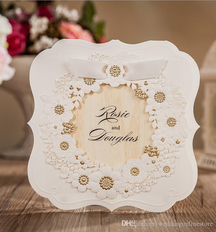 Romantic White Hollow Flower Wedding Invitation Cards Personality ...