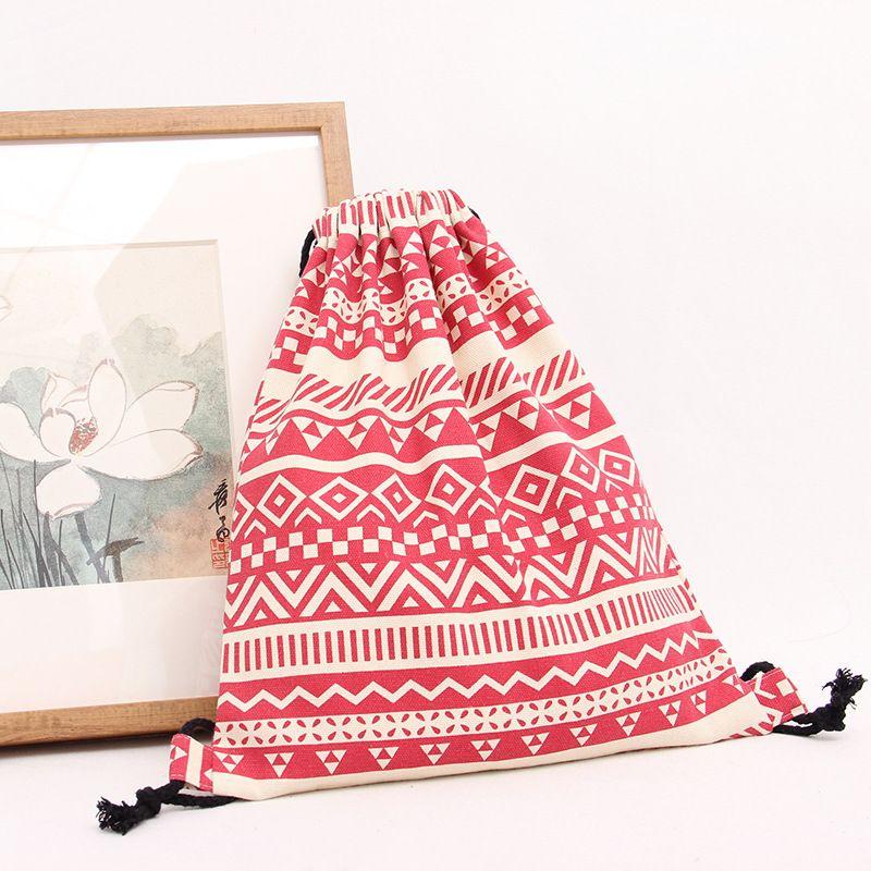 2016 frauen Rucksack Nationalen Leinwand Kordelzug Schule Rucksack Vintage Student Mädchen Casual Bag Mochila Feminina Sack Tasche