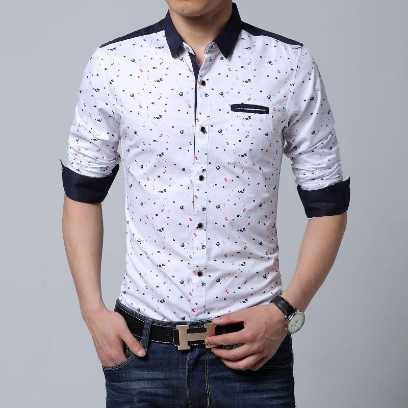 a76013d760d 2019 Wholesale Men Long Sleeve Shirt Casual Slim Fit Cotton Printed Male  Black White Shirt Man Mens Dress Shirts Men Big Size 6xl Plus Size From  Honry