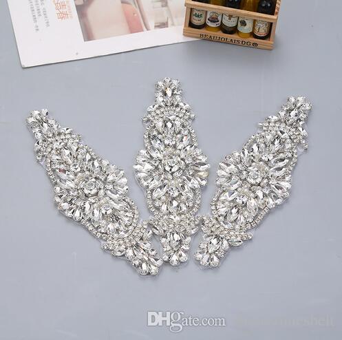 a5bb21492e YANSTAR (1pcs) Bridal Hand Beaded Rhinestones Appliques Clear Rose Gold  Crystal Sew On Wedding Dress Belt
