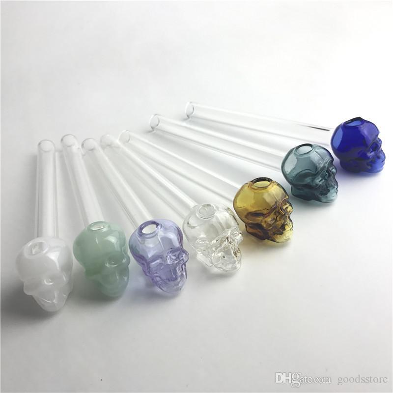 Bunter Glasöl-Brenner mit 5,5 Zoll 2mm starkem Pyrex-Schädel-Glas-Handpfeifen für das Rauchen