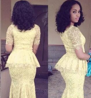 African Fashion Vestido Longo O Neck Short Sleeve Mermaid Floor Length prom Gown Yellow Lace Elegant Nigeria Style Pageant Evening Dresses