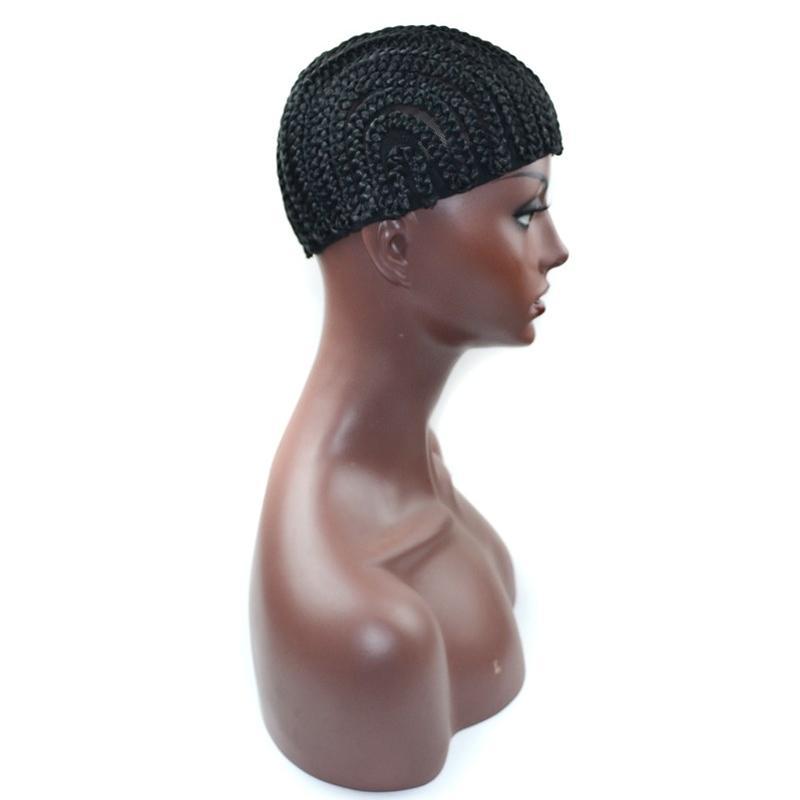 Black Braided Wig Caps For Making Wigs Cornrows Crochet Wig Caps Small Medium Large Glueless Dome Hairnet Liner Elastic Mesh For Black Women