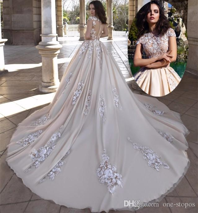Modest Champagne Lace Ball Gowns Wedding Dresses Bridal Gowns 2017 ...