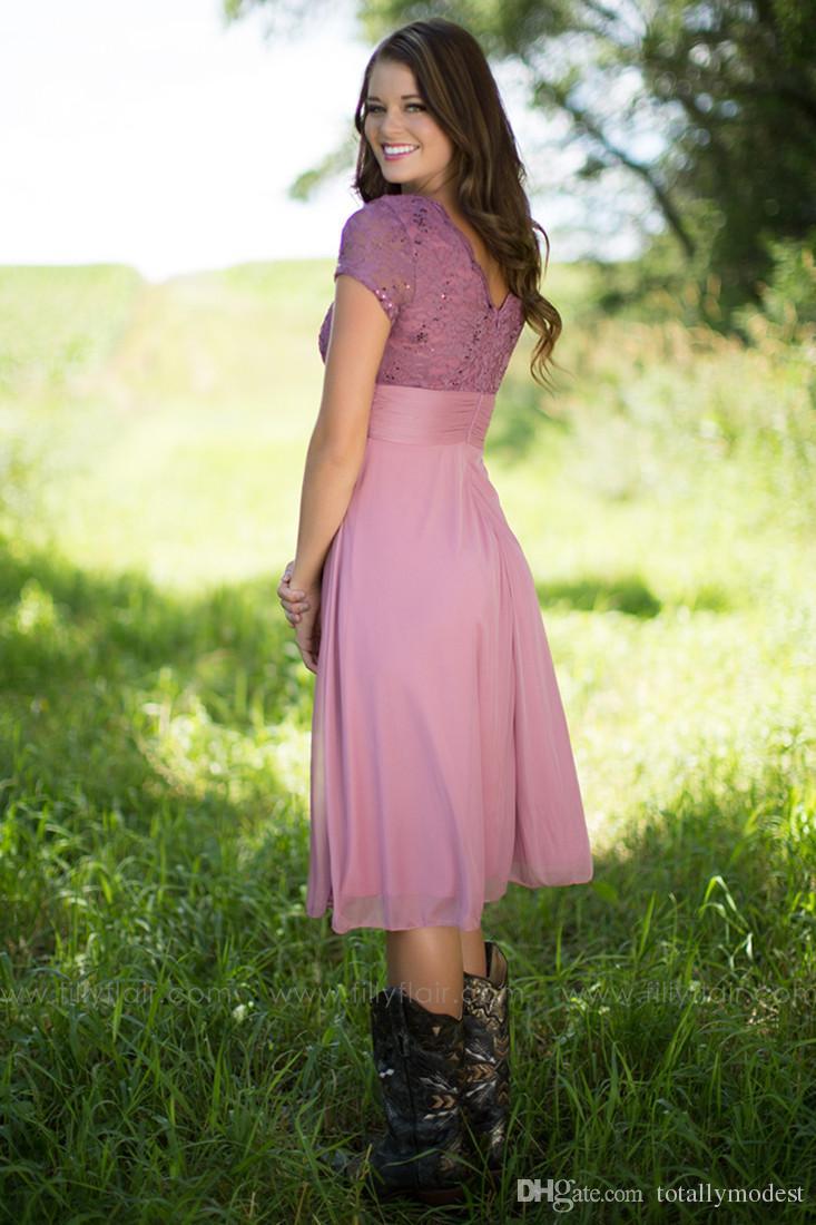 라일락 빈티지 차 길이 나라 명예 가운 사용자의 캡 슬리브 A 라인 짧은 소박한 비공식 하녀와 겸손한 신부 들러리 드레스