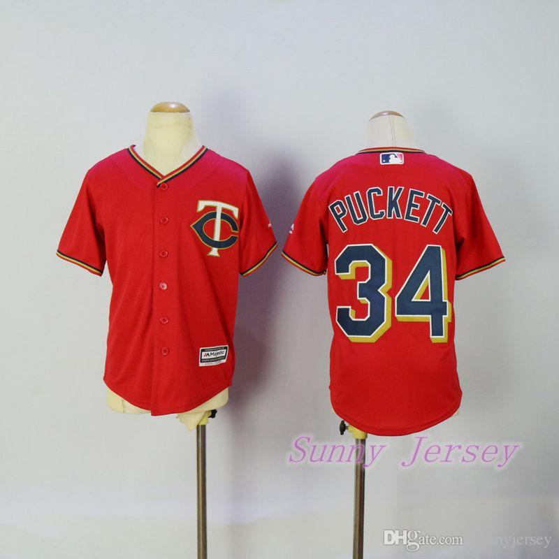 3eb9ed10cc4 ... 2017 Kids Kirby Puckett Jersey Minnesota Twins Baseball Jersey Cool  Base Red Home Stitched From Sunnyjersey